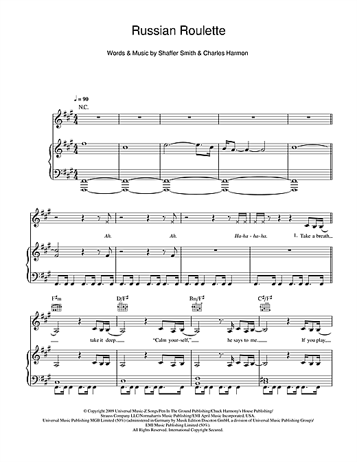 Russian Roulette Sheet Music Notes Rihanna Chords Download R B