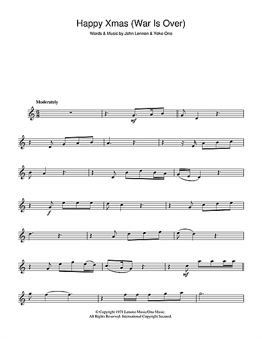 Happy Christmas War Is Over Chords.John Lennon Happy Xmas War Is Over Sheet Music Notes Chords Download Printable Alto Saxophone Sku 100420
