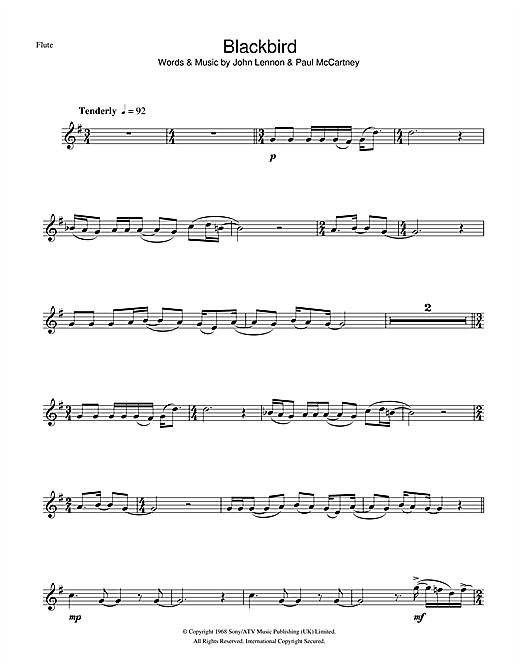 The Beatles 'Blackbird' Sheet Music Notes, Chords | Download Printable  Flute - SKU: 101011