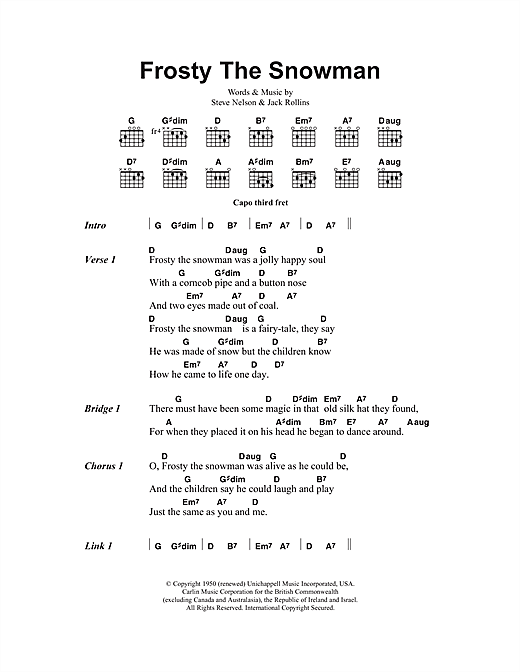 picture about Frosty the Snowman Lyrics Printable named The Ronettes Frosty The Snowman Sheet Songs Notes, Chords Obtain Printable Lyrics Chords - SKU: 102419