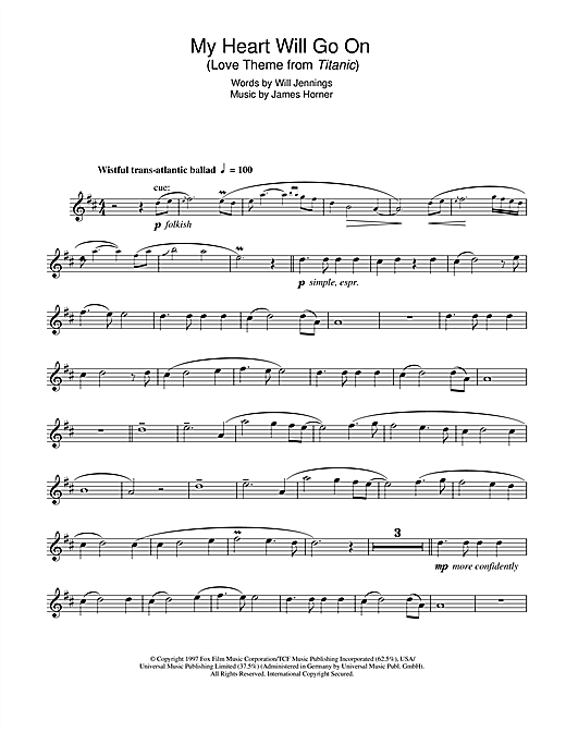 photograph regarding My Heart Will Go on Piano Sheet Music Free Printable titled Celine Dion My Center Will Shift Upon (Appreciate Concept towards Titanic) Sheet Audio Notes, Chords Down load Printable Alto Saxophone - SKU: 102783
