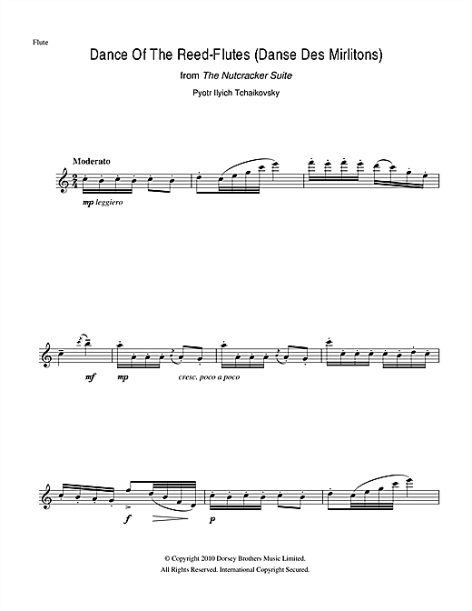 Pyotr Ilyich Tchaikovsky Dance Of The Reed Flutes From The Nutcracker Suite Sheet Music Notes Chords Download Printable Flute Sku 104452