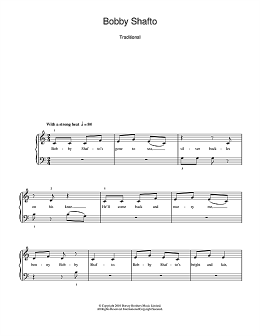 Traditional Nursery Rhyme 'Bobby Shafto' Sheet Music Notes, Chords |  Download Printable 5-Finger Piano - SKU: 104628