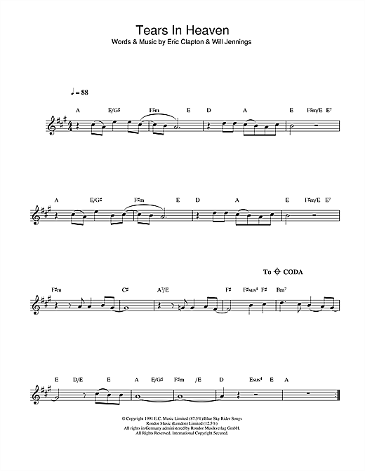 Eric Clapton 'Tears In Heaven' Sheet Music Notes, Chords | Download  Printable Alto Saxophone - SKU: 107103