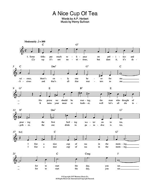 Henry Sullivan A Nice Cup Of Tea Sheet Music Notes Chords Download Printable Melody Line Lyrics Chords Sku 108526