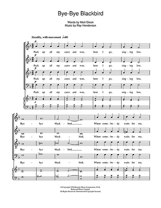 Ray Henderson Bye Bye Blackbird Sheet Music Notes Chords Download Printable Satb Sku 108689