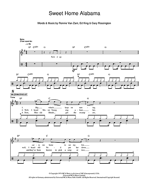 Lynyrd Skynyrd Sweet Home Alabama Sheet Music Notes Chords Download Printable Drums Sku 112285