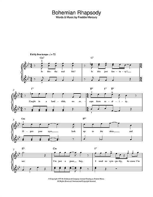 Queen 'Bohemian Rhapsody' Sheet Music Notes, Chords | Download Printable  Beginner Piano - SKU: 112510