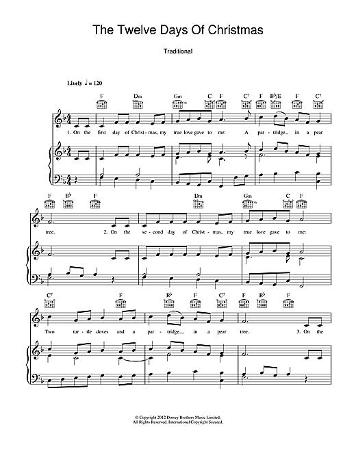 Twelve Days Of Christmas Notes.Christmas Carol The Twelve Days Of Christmas Sheet Music Notes Chords Download Printable Piano Vocal Guitar Right Hand Melody Sku 114860