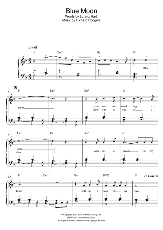 Rodgers & Hart 'Blue Moon' Sheet Music Notes, Chords | Download Printable  Easy Piano - SKU: 119793