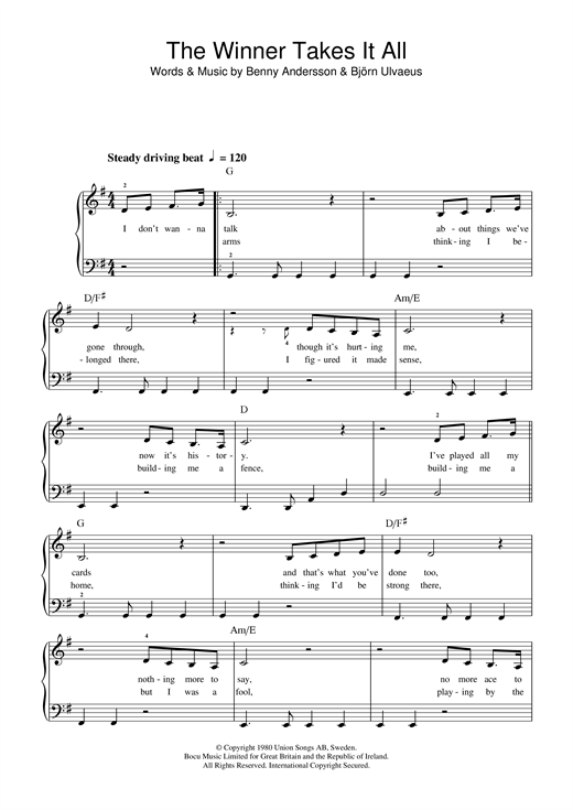 Abba The Winner Takes It All Sheet Music Notes Chords Download Printable Beginner Piano Sku 120579