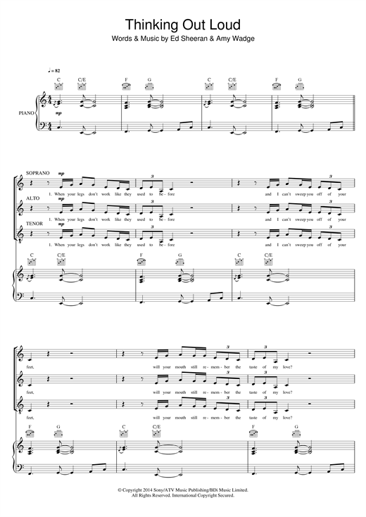 Ed Sheeran Thinking Out Loud Arr Mark De Lisser Sheet Music Notes Chords Download Printable Sat Sku 121304