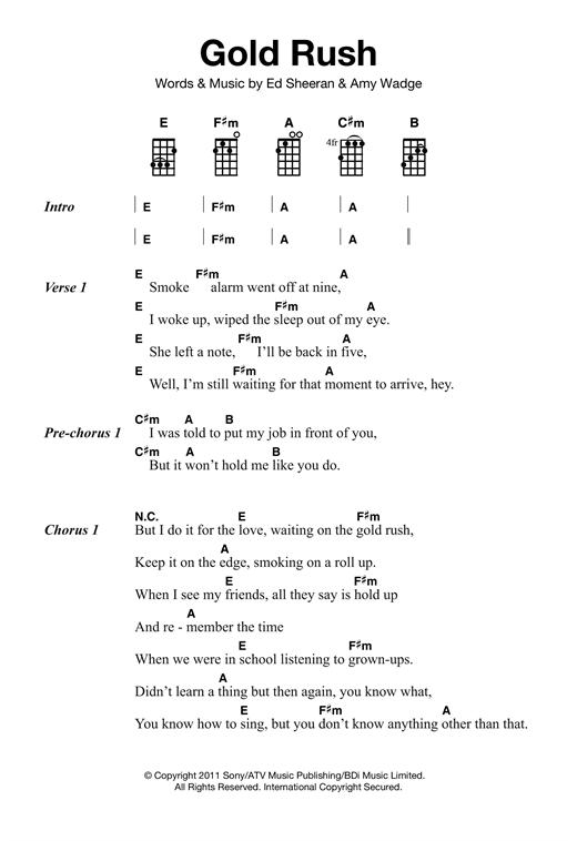 Ed Sheeran 'Gold Rush' Sheet Music Notes, Chords | Download Printable  Ukulele - SKU: 121857