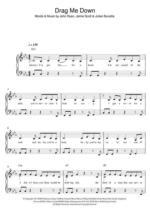One Direction 'Drag Me Down' Sheet Music Notes, Chords | Download Printable  Easy Piano - SKU: 122375