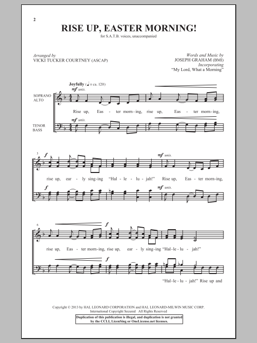 Vicki Tucker Courtney 'Rise Up, Easter Morning!' Sheet Music Notes, Chords  | Download Printable SATB - SKU: 150542