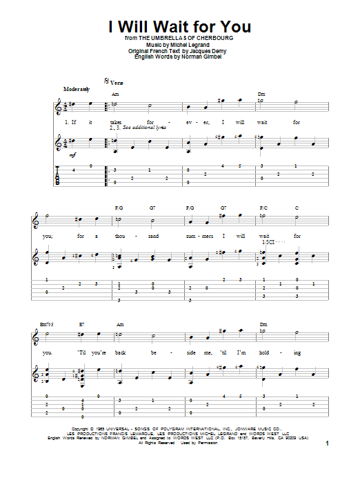Michel Legrand I Will Wait For You Sheet Music Notes Chords Download Printable Guitar Tab Sku 152867