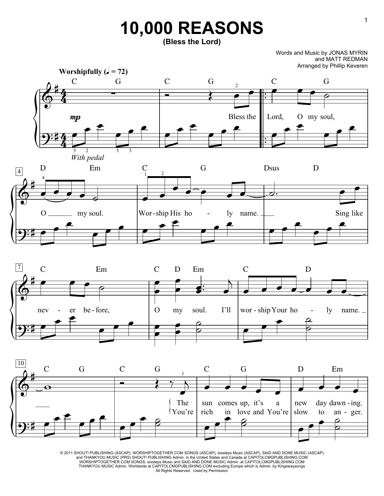 Phillip Keveren '10,000 Reasons (Bless The Lord)' Sheet Music Notes, Chords  | Download Printable Easy Piano - SKU: 155046