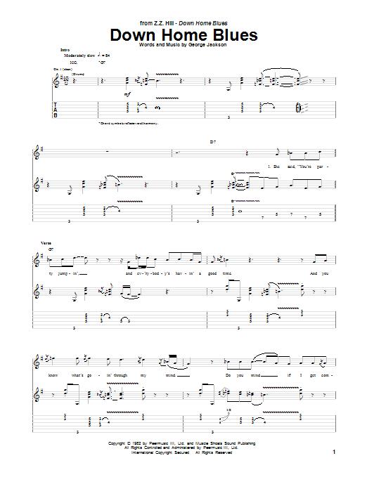 Z Z  Hill 'Down Home Blues' Sheet Music Notes, Chords | Download Printable  Guitar Tab - SKU: 155369