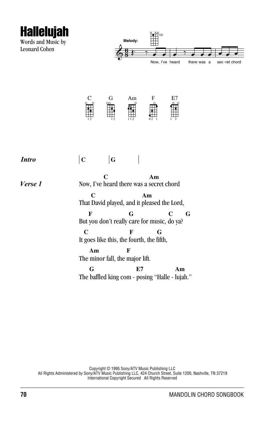 Leonard Cohen Hallelujah Sheet Music Notes Chords Download Printable Mandolin Sku 158523