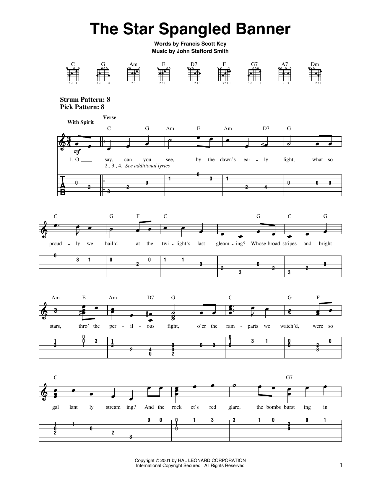image about Star Spangled Banner Lyrics Printable named Francis Scott Top secret The Star Spangled Banner Sheet Tunes Notes, Chords  Obtain Printable Very simple Guitar Tab - SKU: 159487