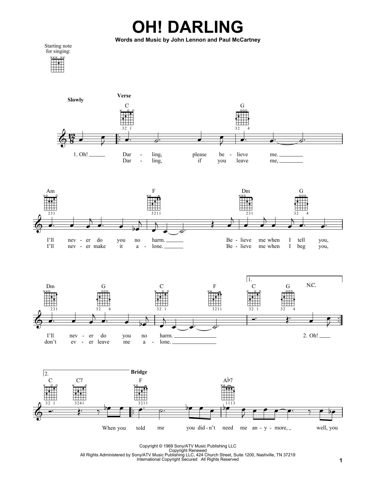 The Beatles 'Oh! Darling' Sheet Music Notes, Chords   Download Printable  Easy Guitar - SKU: 161803
