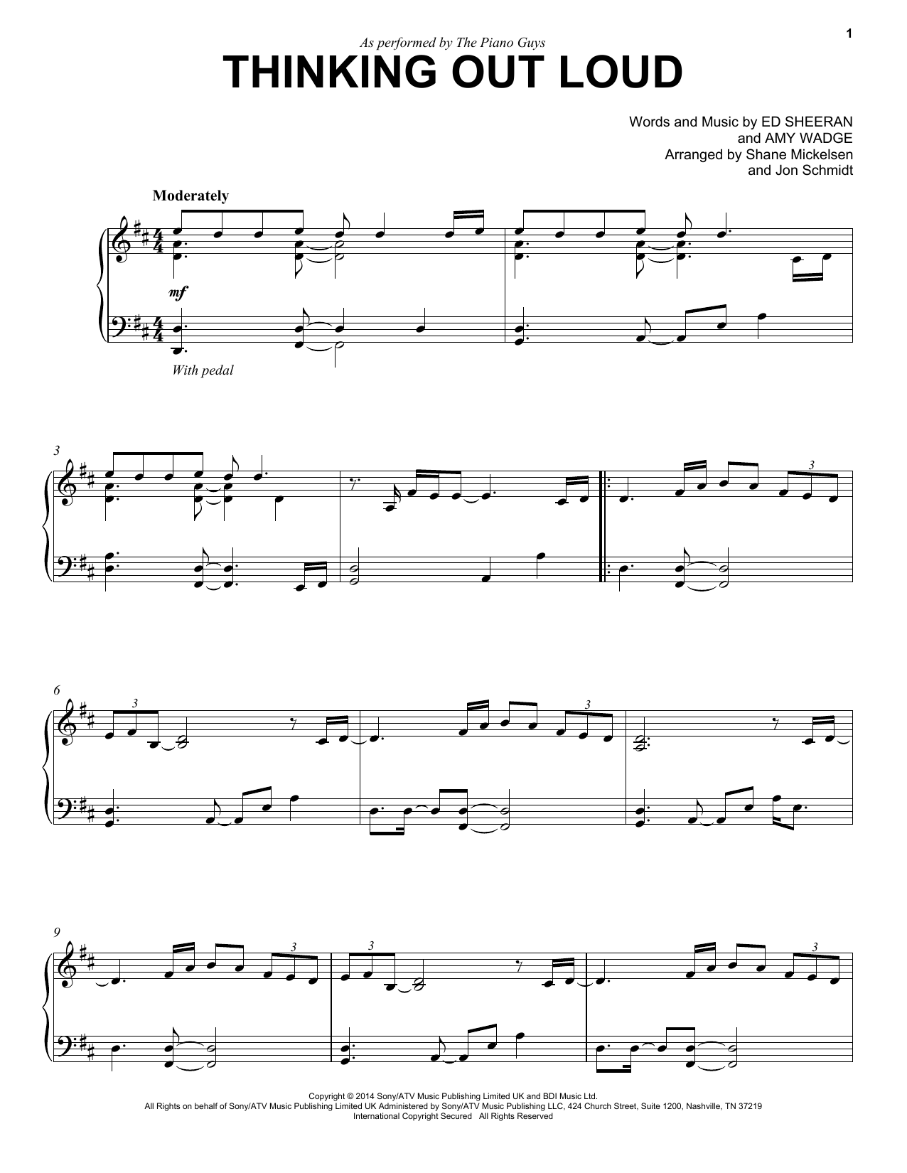 The Piano Guys Thinking Out Loud Sheet Music Notes Chords Download Printable Cello And Piano Sku 163640