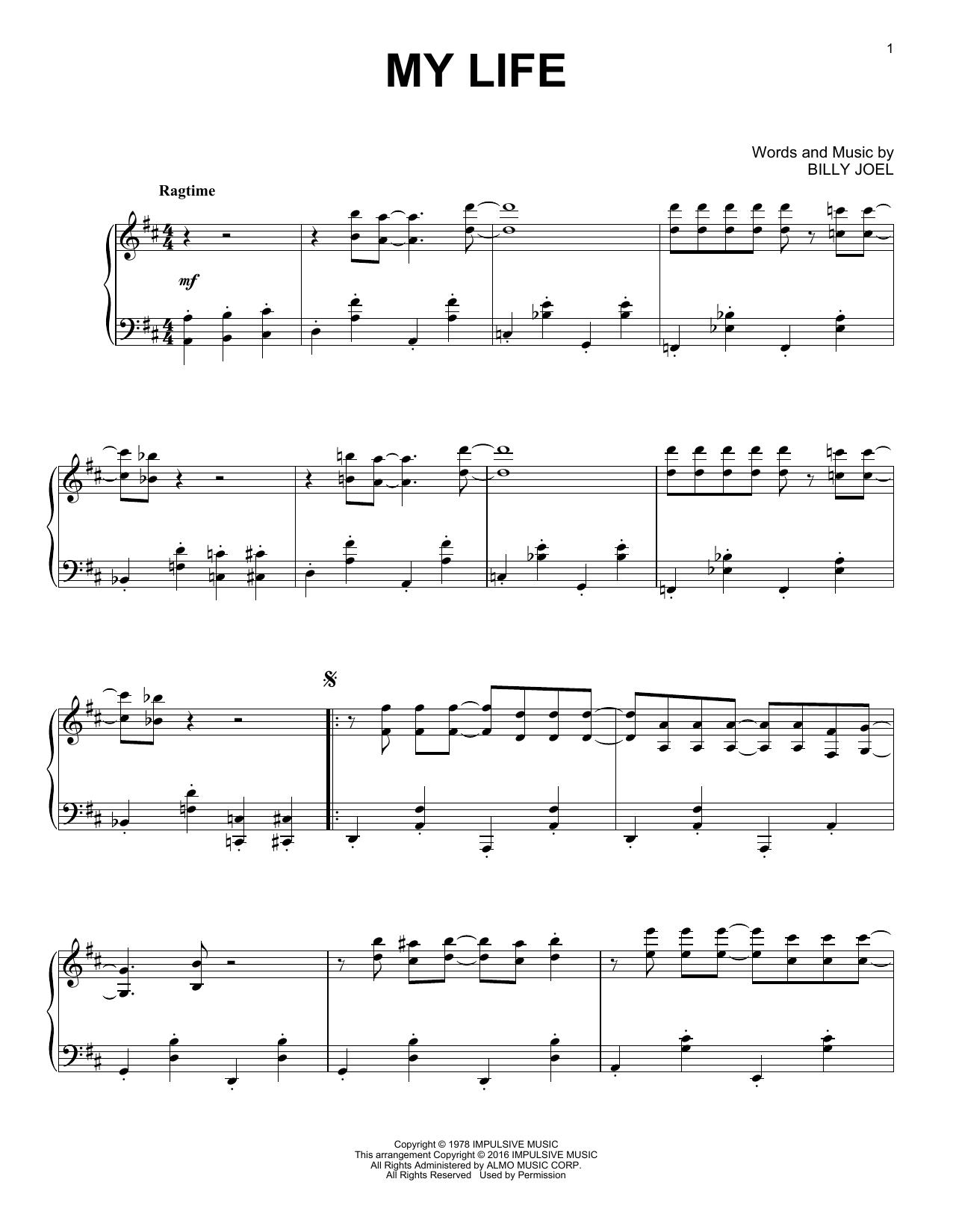 Billy Joel 'My Life' Sheet Music Notes, Chords | Download Printable Piano -  SKU: 164354