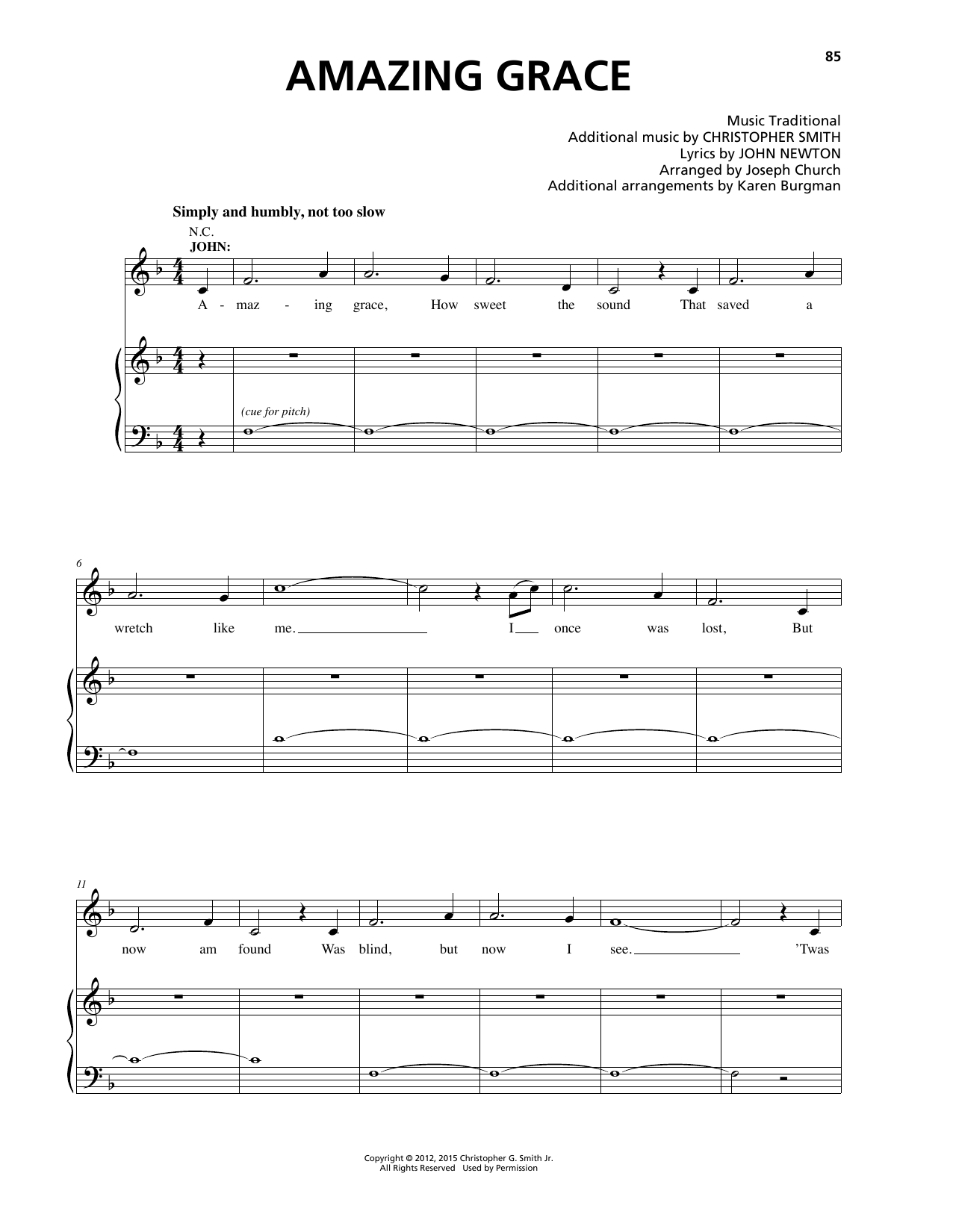Christopher Smith 'Amazing Grace' Sheet Music Notes, Chords | Download  Printable Piano & Vocal - SKU: 164999