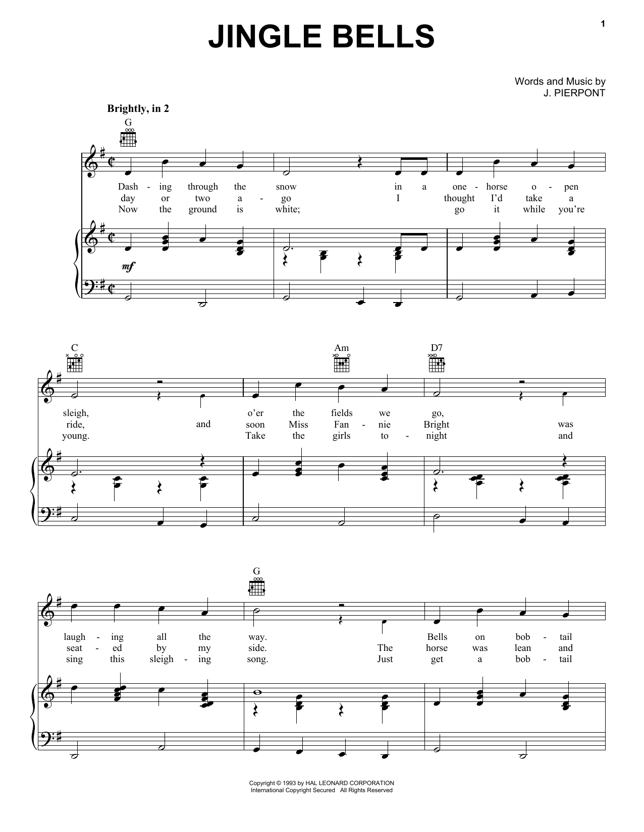 J Pierpont Jingle Bells Sheet Music Notes Chords Download Printable Piano Vocal Guitar Right Hand Melody Sku 16561