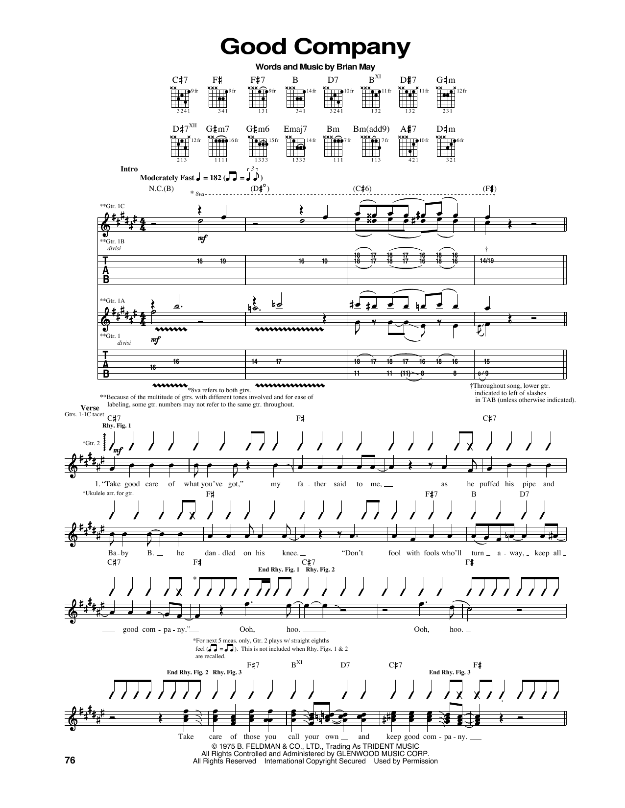 Queen 'Good Company' Sheet Music Notes, Chords | Download Printable Guitar  Tab - SKU: 165966