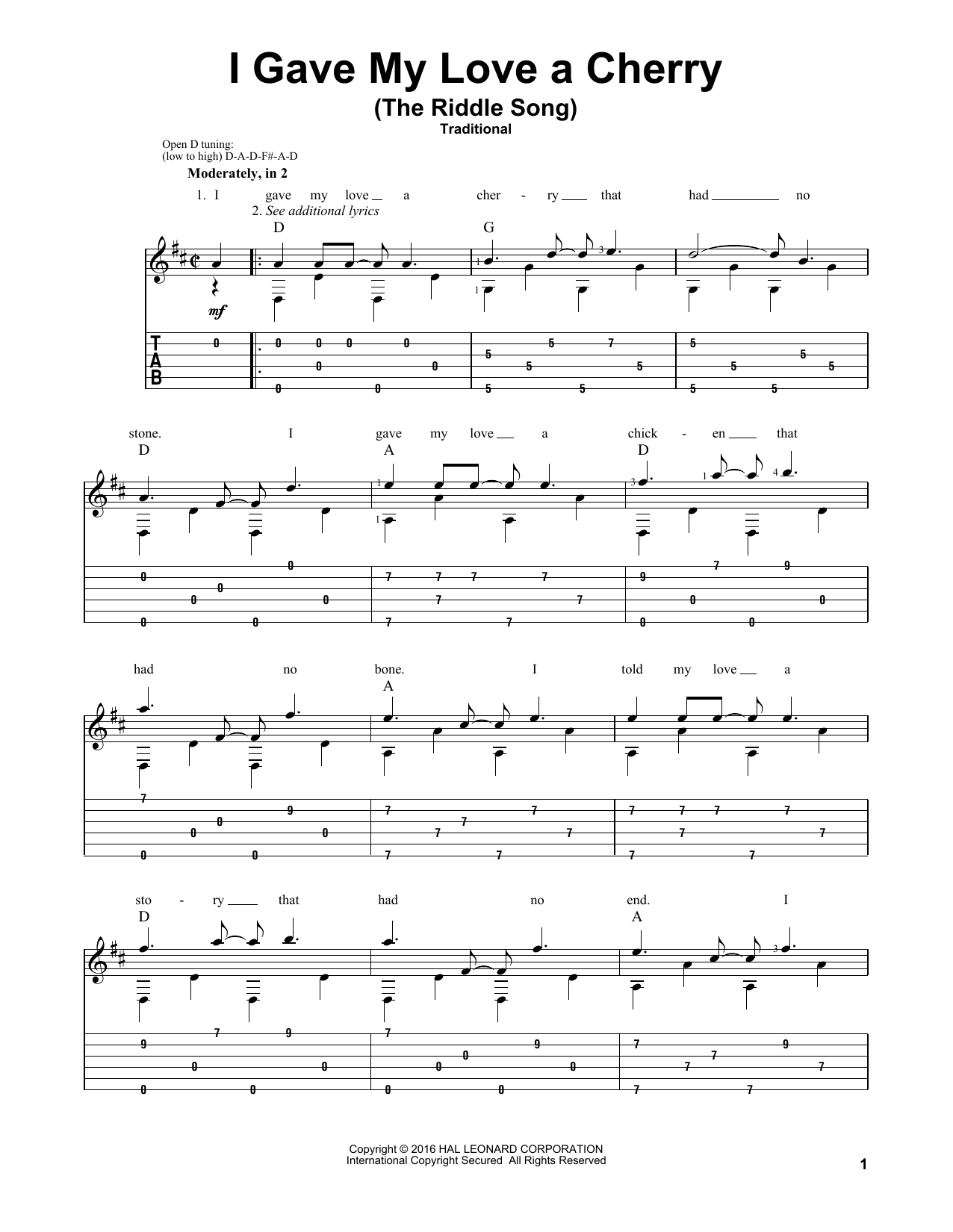 Traditional 'I Gave My Love A Cherry (The Riddle Song)' Sheet Music Notes,  Chords | Download Printable Guitar Tab - SKU: 167488