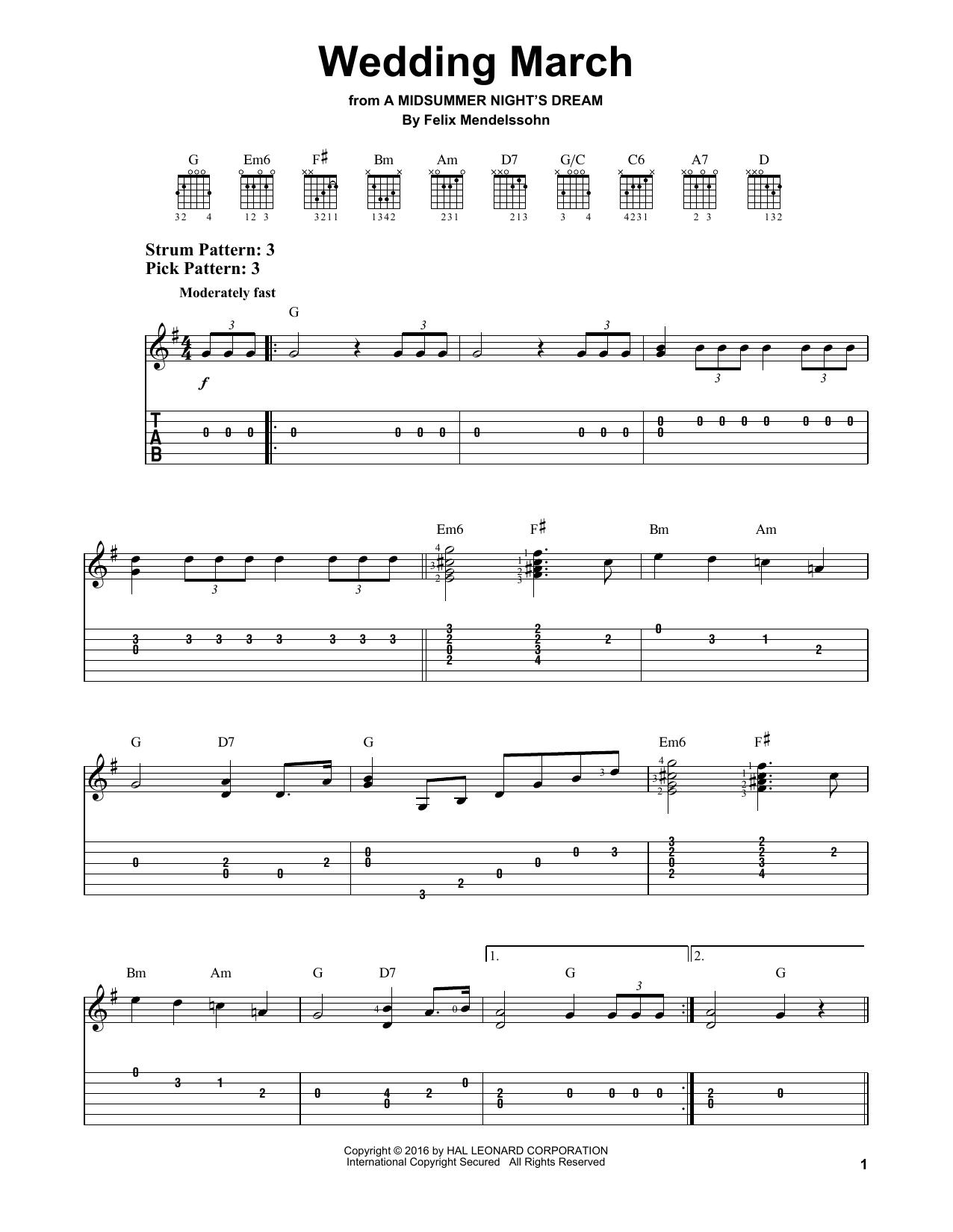 Wedding March Sheet Music Notes Felix Mendelssohn Chords Download