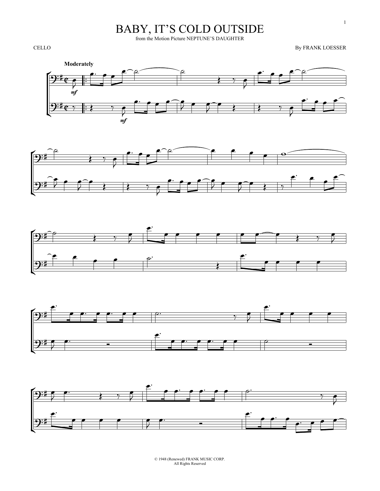 Frank Loesser Baby Its Cold Outside Sheet Music Notes Chords Download Printable Cello Sku 168078