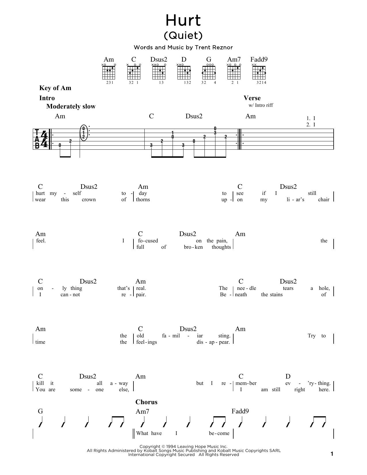 Johnny Cash 'Hurt (Quiet)' Sheet Music Notes, Chords | Download Printable  Guitar Lead Sheet - SKU: 171503