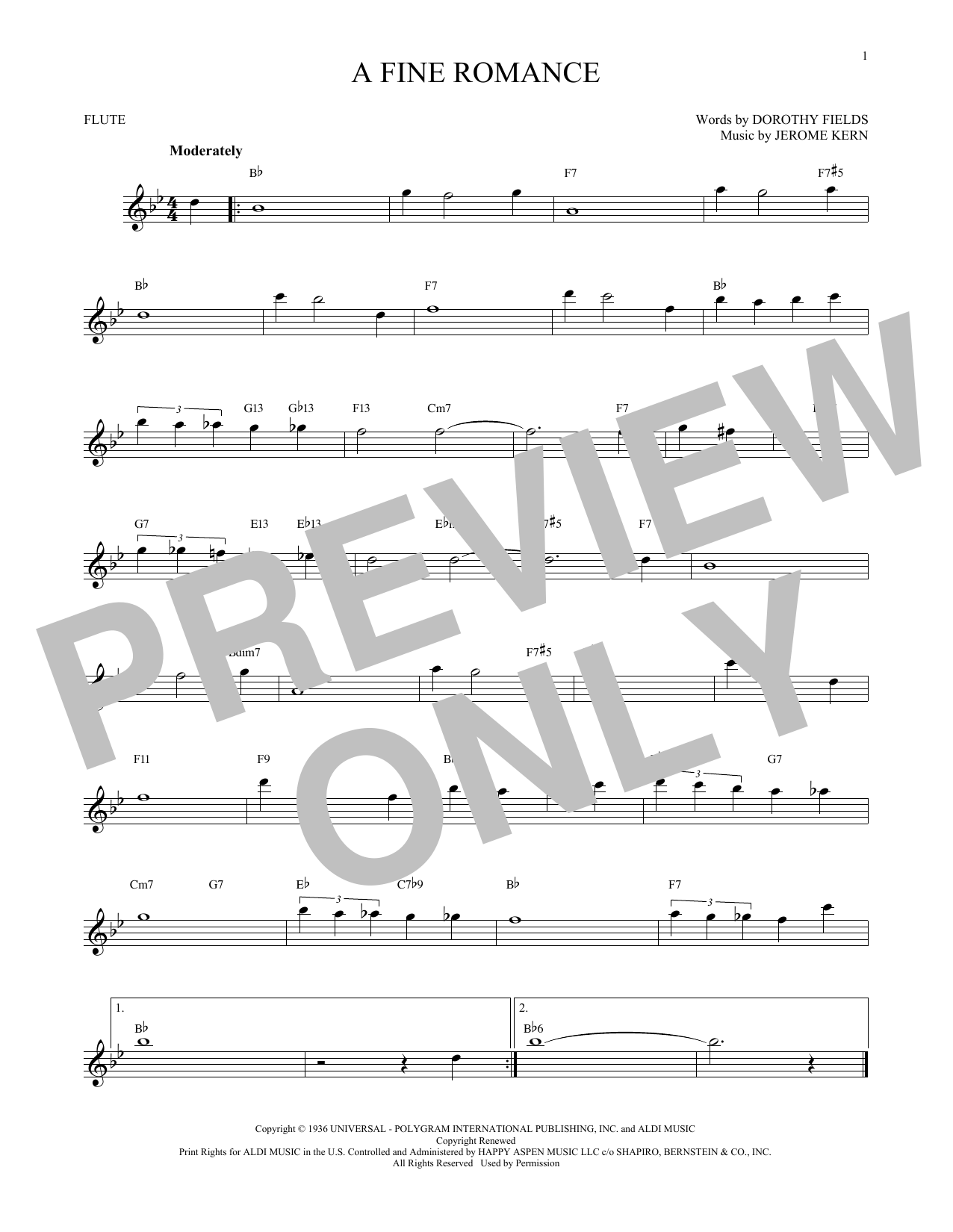 Jerome Kern 'A Fine Romance' Sheet Music Notes, Chords | Download Printable  Flute - SKU: 172331