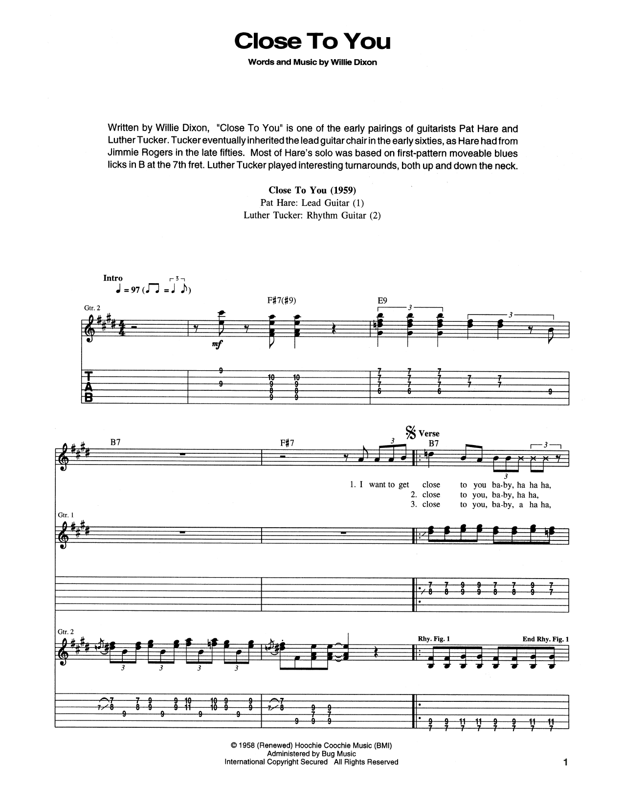 Muddy Waters 'Close To You (I Wanna Get)' Sheet Music Notes, Chords |  Download Printable Guitar Tab - SKU: 173291