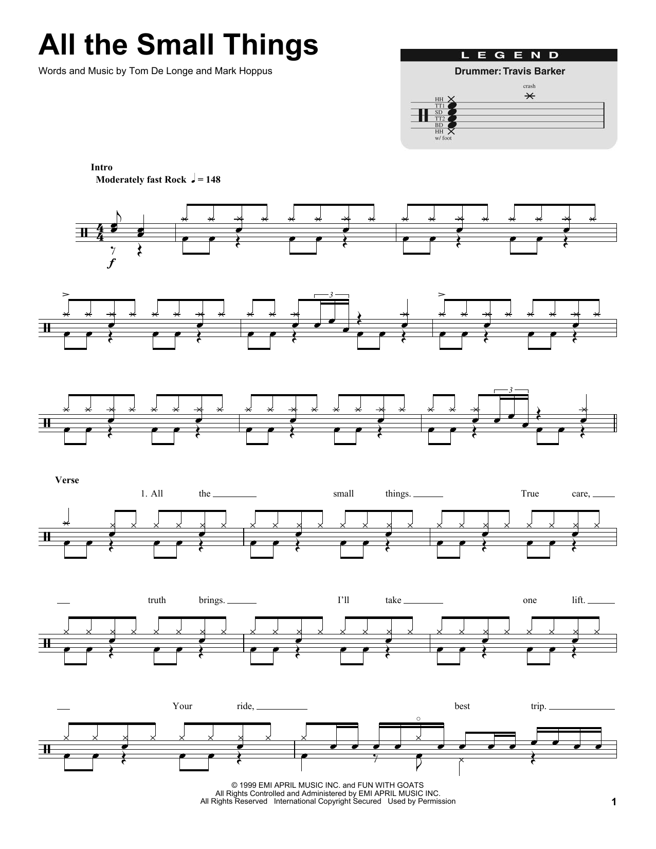 All The Small Things Sheet Music Notes Blink 182 Chords Download