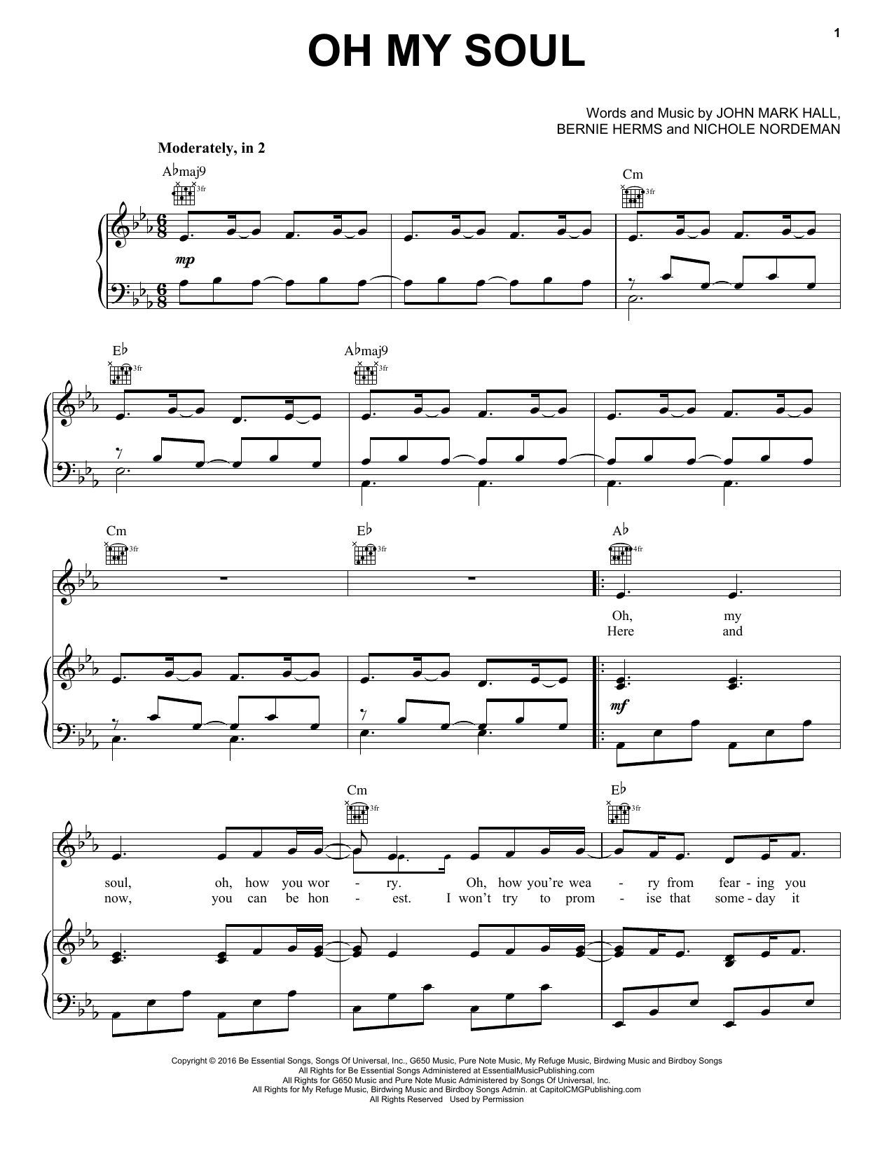 Casting Crowns 'Oh My Soul' Sheet Music Notes, Chords | Download Printable  Piano, Vocal & Guitar (Right-Hand Melody) - SKU: 176044