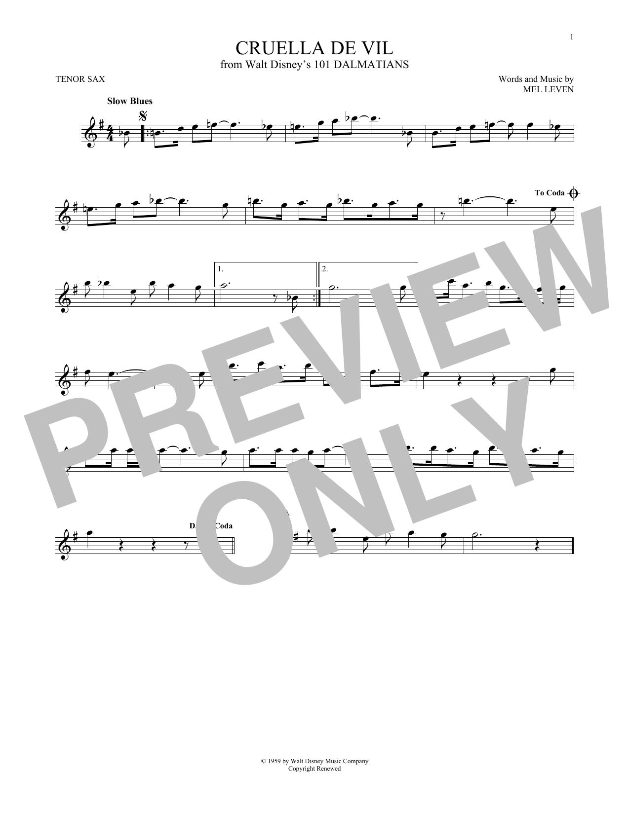 Mel Leven 'Cruella De Vil' Sheet Music Notes, Chords | Download Printable  Tenor Saxophone - SKU: 177721
