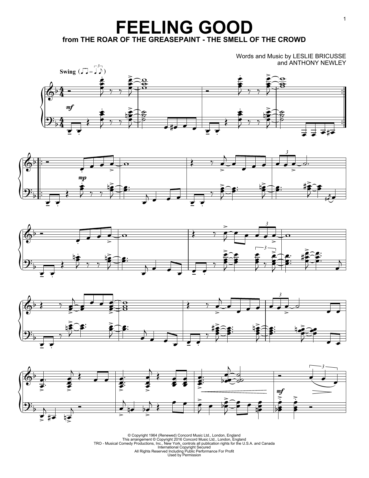 Michael Buble Feeling Good Sheet Music Notes Chords Download Printable Piano Sku 178230