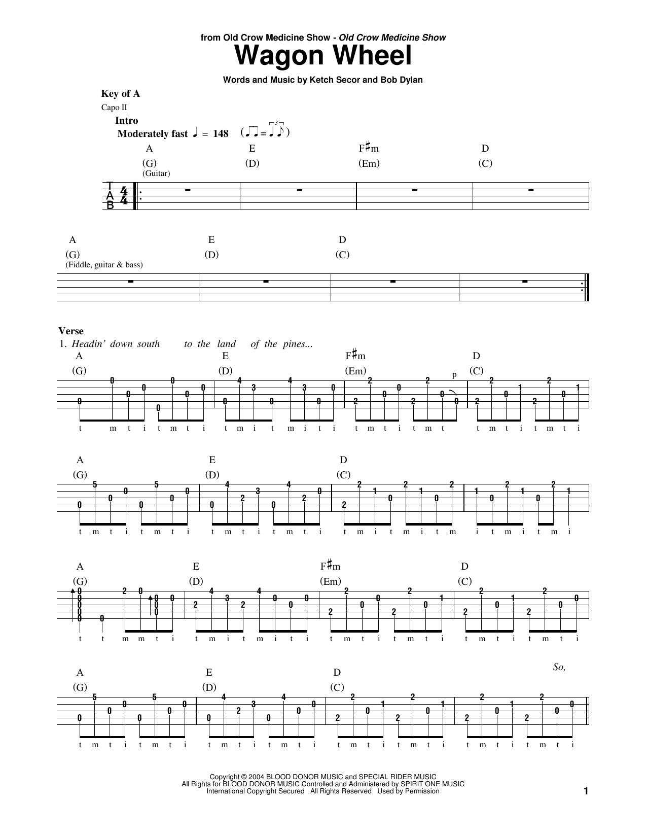 Old Crow Medicine Show 'Wagon Wheel' Sheet Music Notes, Chords | Download  Printable Banjo - SKU: 178446