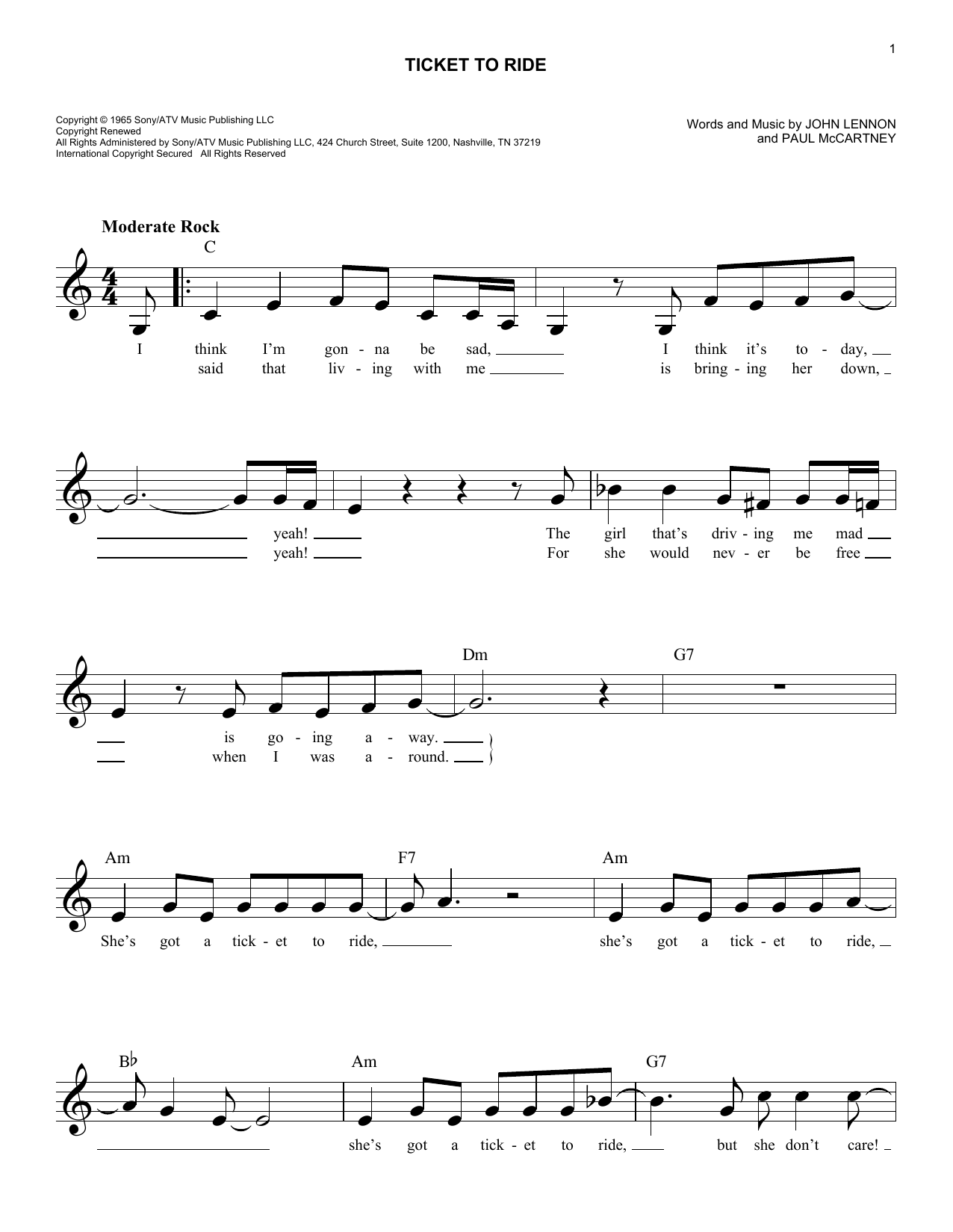 Ticket To Ride Chords   Sheet and Chords Collection