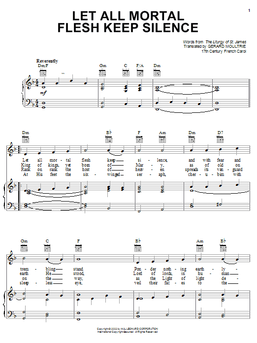 Download Traditional Carol Let All Mortal Flesh Keep Silence sheet music and printable PDF score & Hymn music notes
