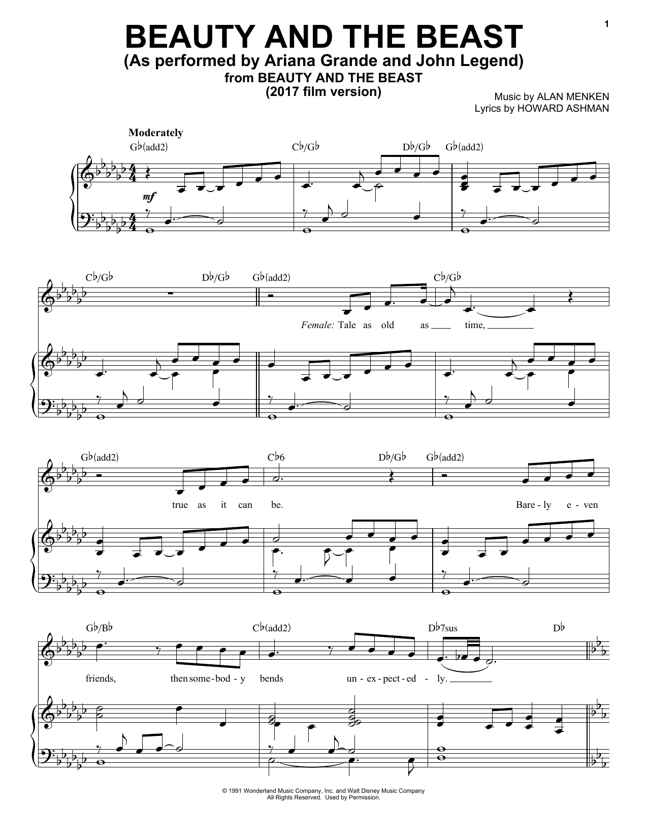 image about Beauty and the Beast Piano Sheet Music Free Printable referred to as Ariana Grande John Legend Splendor And The Beast Sheet Audio Notes, Chords Down load Printable Piano, Vocal Backing Monitor - SKU: 181363