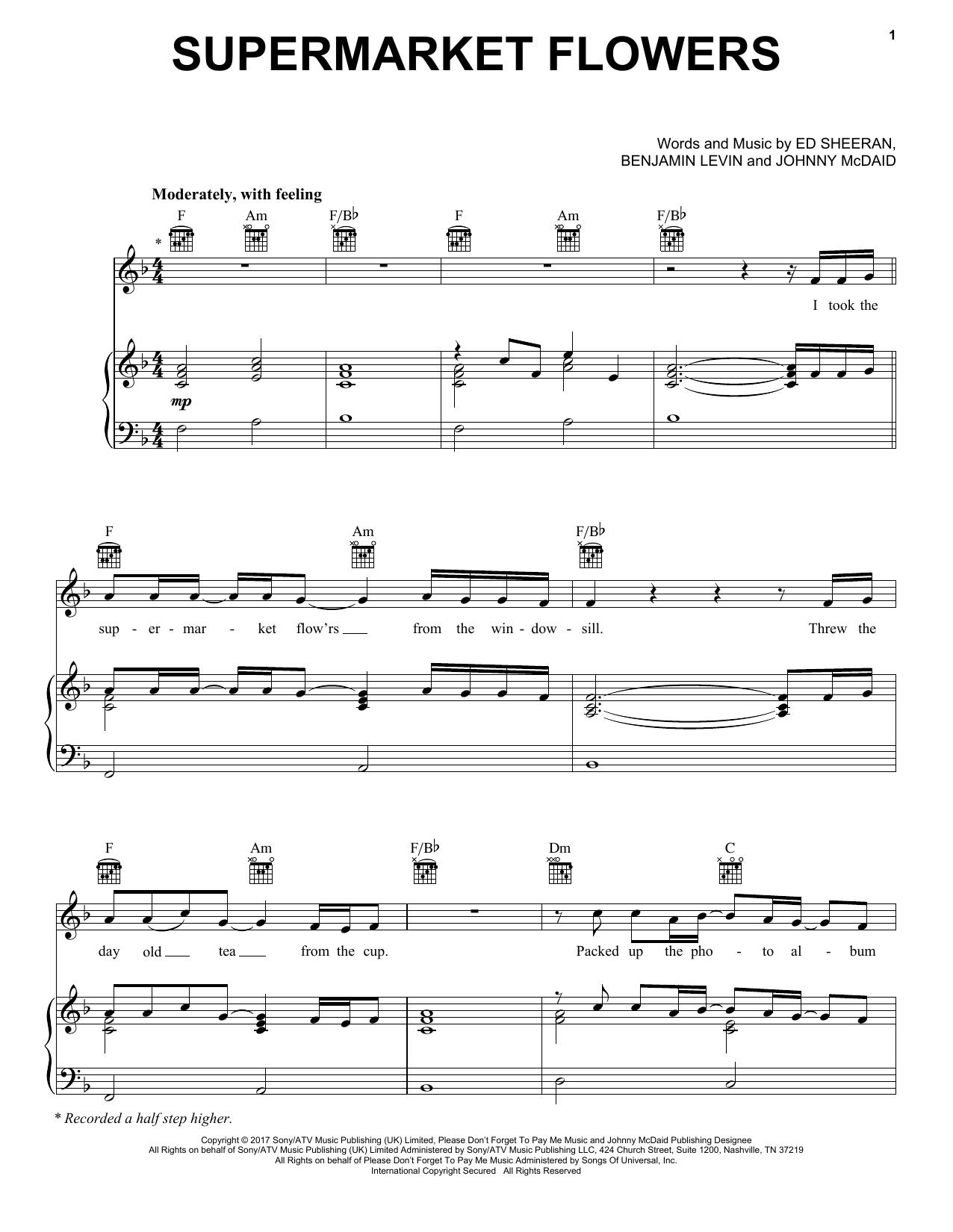 Ed Sheeran 'Supermarket Flowers' Sheet Music Notes, Chords   Download  Printable Piano, Vocal & Guitar (Right-Hand Melody) - SKU: 181412