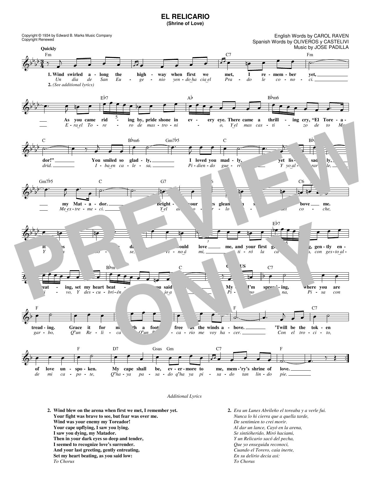 Carol Raven 'El Relicario (Shrine Of Love)' Sheet Music Notes, Chords |  Download Printable Melody Line, Lyrics & Chords - SKU: 182725