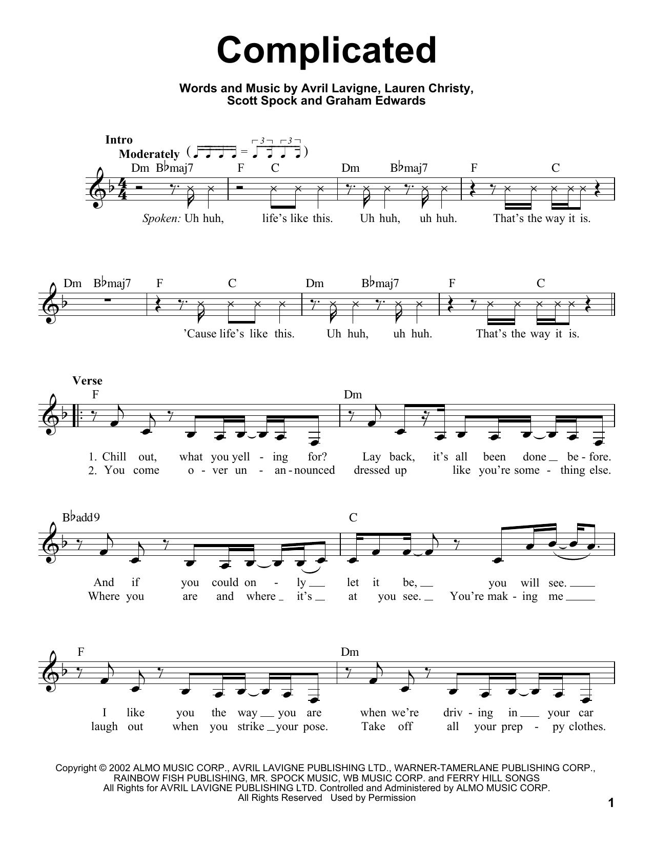 Lavigne complicated sheet music for bass (tablature) (bass guitar).