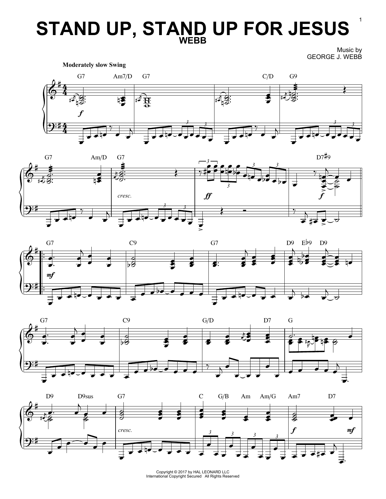 George Duffield, Jr  'Stand Up, Stand Up For Jesus' Sheet Music Notes,  Chords | Download Printable Piano - SKU: 185318