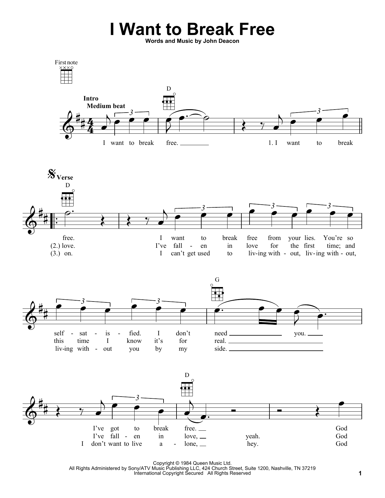 I Want To Break Free Sheet Music Notes, Queen Chords