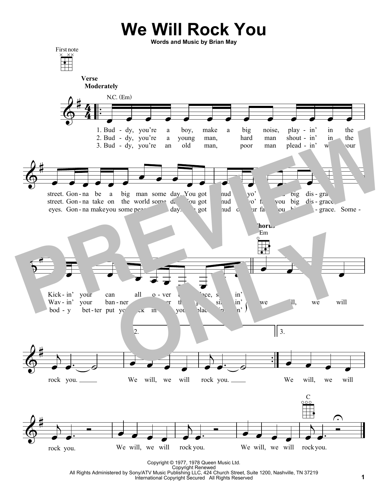 Queen 'We Will Rock You' Sheet Music Notes, Chords | Download Printable  Ukulele - SKU: 185995